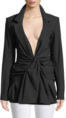 Jacquemus Rafael Plunging Ruched-Front Wool-Blend Blouse