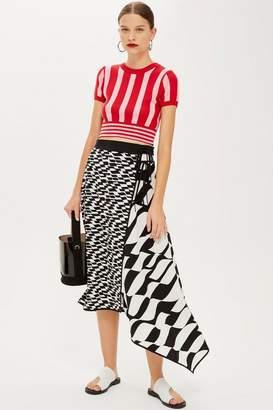 Topshop Geometric Print Midi Skirt