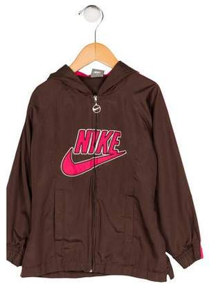 Nike Girls' Hooded Appliqué-Accented Jacket