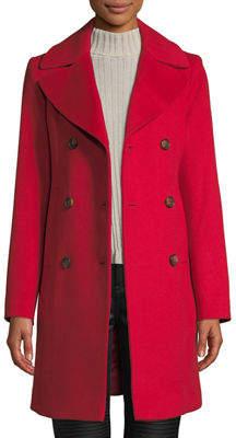 Fleurette Oversized-Collar Double-Breasted Pea Coat