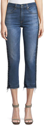 Veronica Beard Ines Cropped Straight-Leg Girlfriend Jeans W/ Rhinestones