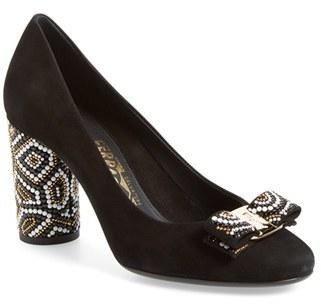 Women's Salvatore Ferragamo Beaded Heel Bow Pump $595 thestylecure.com