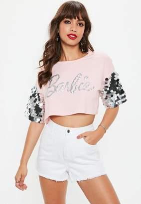 Missguided Barbie x Pink Glitter Logo Sequin Sleeve T Shirt