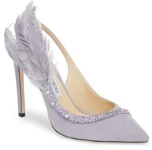 Jimmy Choo Tacey Crystal & Feather Embellished Slingback Sandal