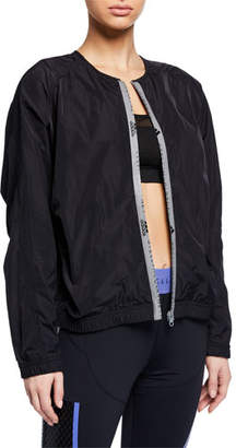 adidas by Stella McCartney Collarless Zip-Front Active Bomber Jacket