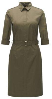 Hugo Boss Dashiri Cotton Belted Shirt Dress 8 Khaki $385 thestylecure.com