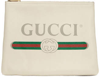 Gucci White Medium Vintage Logo Pouch