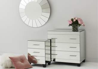 Isa Belle Tantra Isabelle Mirrored Bedside Table 3 Drawers