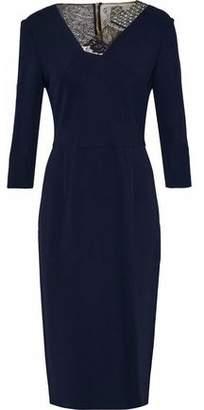 Roland Mouret Lace And Mesh-Paneled Crepe Dress