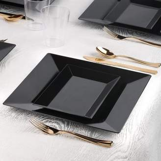 clear Kaya Collection - Square and Rectangle Black Disposable Plastic Dinnerware Party Package - Includes Square Dinner Plates, Rectangle Salad/Dessert Plates, Gold Cutlery, Tumblers (120 Person Package)