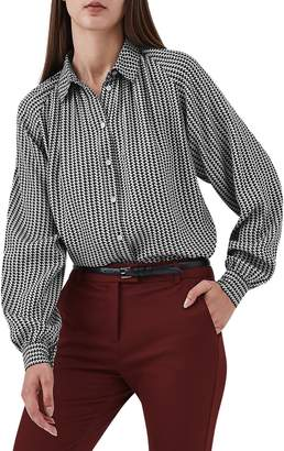 Reiss Viola Houndstooth Balloon Sleeve Blouse