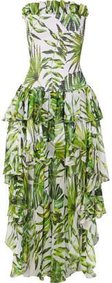 Caroline Constas Lola Asymmetric Ruffled Smocked Printed Silk-chiffon Dress