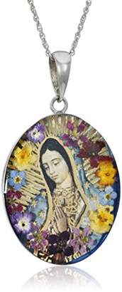Sterling Silver Virgin Mary of Guadalupe Pressed Flower Pendant Necklace
