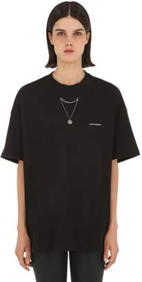 Oversized Jersey T-Shirt W/ Necklace