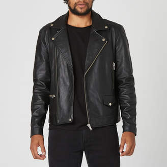 DSTLD Mens Leather Moto Jacket in Black