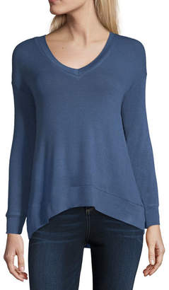 A.N.A Long Sleeve V Neck Pattern T-Shirt-Womens