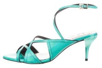 Roger Vivier Prismick Wrap-Around Sandals Green Prismick Wrap-Around Sandals