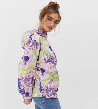 Asos DESIGN Petite over the head jacket in marble print