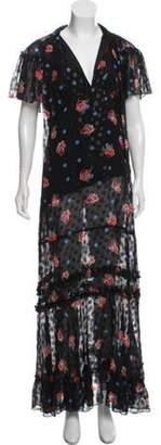 Anna Sui Silk Print Maxi Dress w/ Tags Black Silk Print Maxi Dress w/ Tags