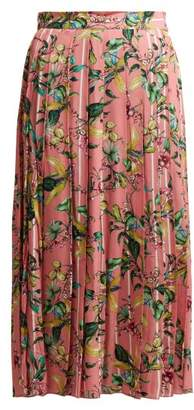 Vetements Floral Print Pleated Midi Skirt - Womens - Pink Multi