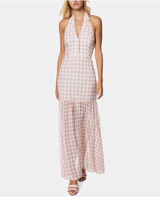 AVEC LES FILLES Gingham-Print Halter Maxi Dress
