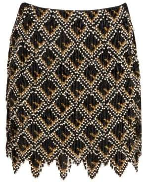 Fendi Beaded Leather Logo Mini Skirt