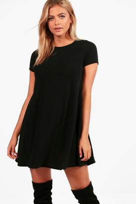 boohoo Fine Knit Short Sleeve Swing Dress