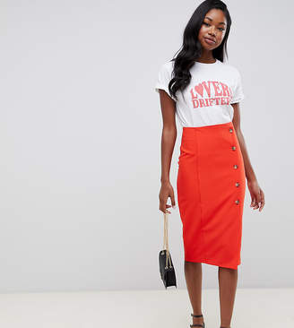 Miss Selfridge pencil midi skirt with button through detail in red