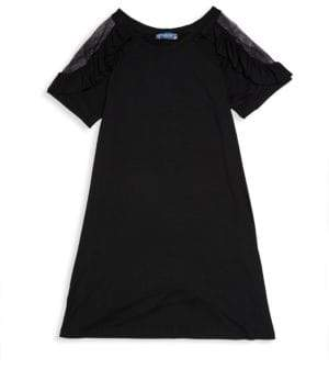 Truly Me Girl's Mesh-Paneled Trapeze Dress