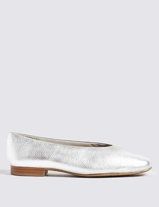 Marks and Spencer Leather High Cut Ballerina Pumps
