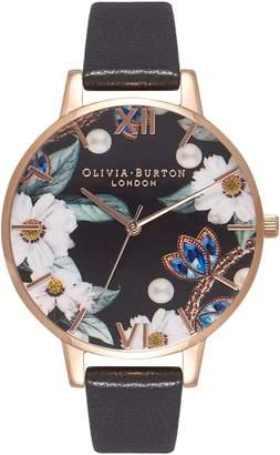 Olivia Burton Bejeweled Florals Leather Strap Watch, 38mm