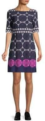 Eliza J Tile-Border Fit-&-Flare Dress