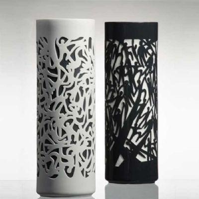 Falling Vase - White on Black Background