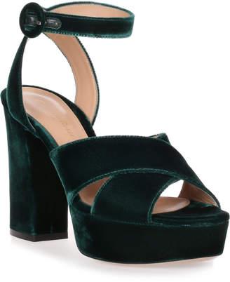 Gianvito Rossi Roxy hunter green velvet sandal