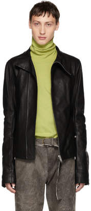 Rick Owens Black Leather Mollino Biker Jacket