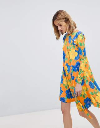 Asos DESIGN Mini Dress With Asymmetric Hem In Bright Floral