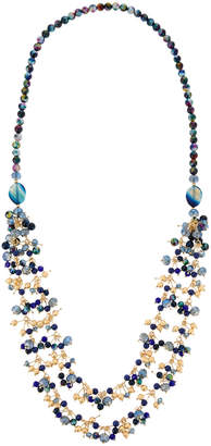 Greenbeads Long Midnight Blue Beaded Necklace eRGKh