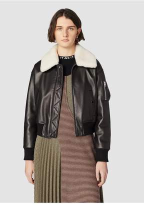 Derek Lam 10 Crosby Cropped Leather Flight Jacket With Shearling Collar
