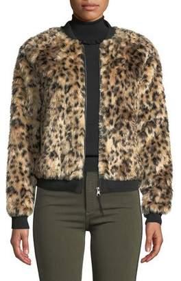 Black Orchid Leopard Faux-Fur Bomber Jacket