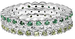 Simply Stacks Sterling Wht Topaz, Emerald, & Peridot Ring Set