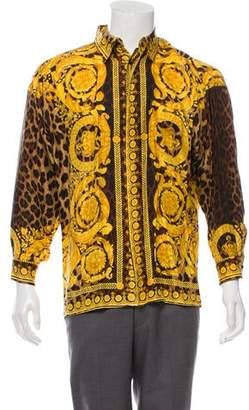 Gianni Versace Printed Button-Up Dress Shirt