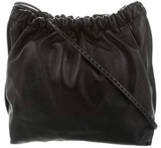 The Row Leather Drawstring Bag Black Leather Drawstring Bag