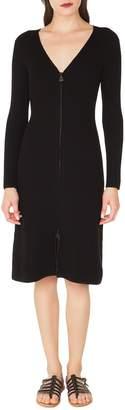 Akris Rib Knit Stretch Wool & Silk Dress