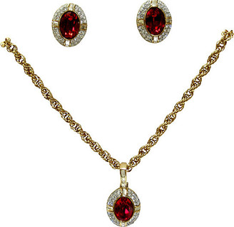 One Kings Lane Vintage Givenchy Crystal Necklace & Earrings Set - Wisteria Antiques Etca