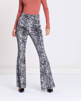 Missguided Snake Print Flared Leg Trousers