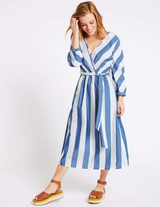 Marks and Spencer PETITE Pure Cotton Striped Wrap Midi Dress