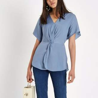 River Island Womens Blue satin knot front shirt