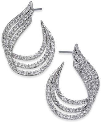 Danori Silver-Tone Pave Triple Hoop Earrings