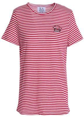 Zoe Karssen Embroidered Striped Cotton-Blend Jersey T-Shirt