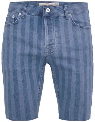 Topman Blue Laser Stripe Stretch Skinny Shorts